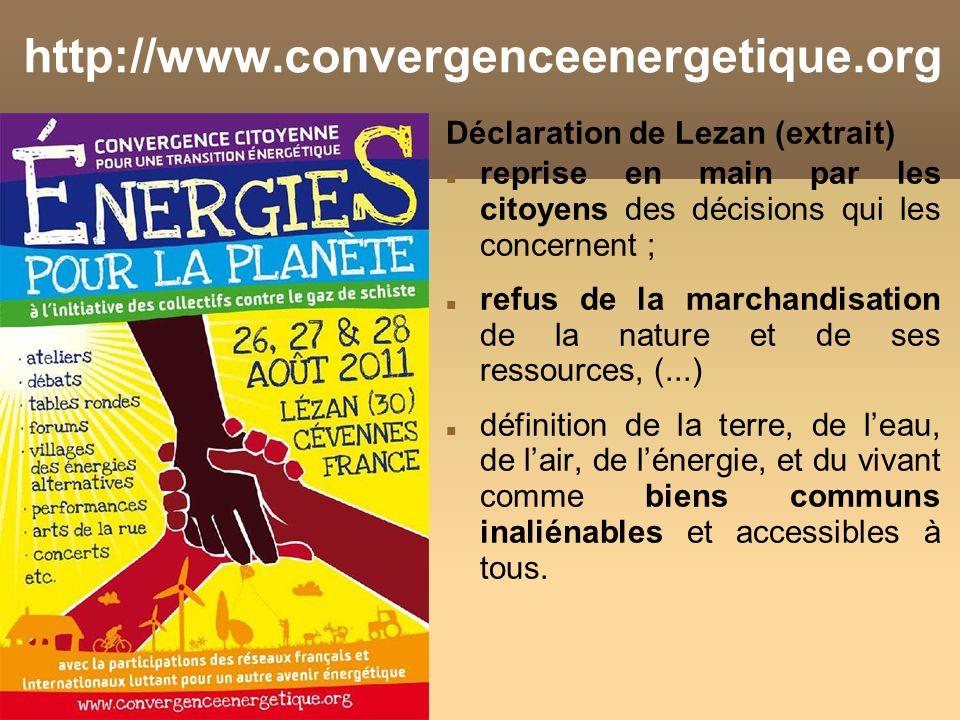 http://www.convergenceenergetique.org Déclaration de Lezan (extrait)