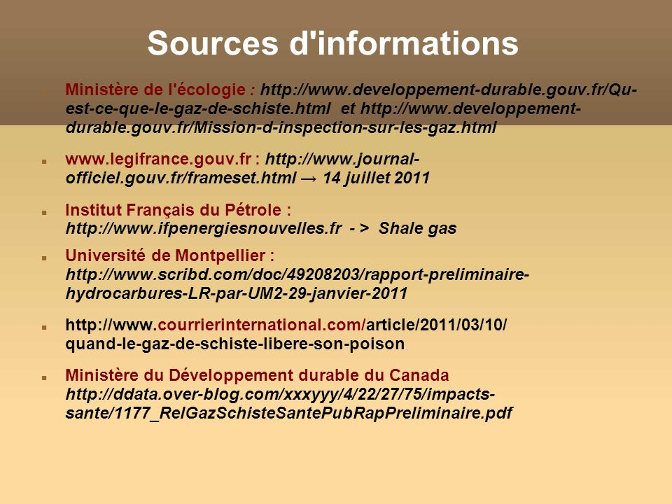 Sources d informations