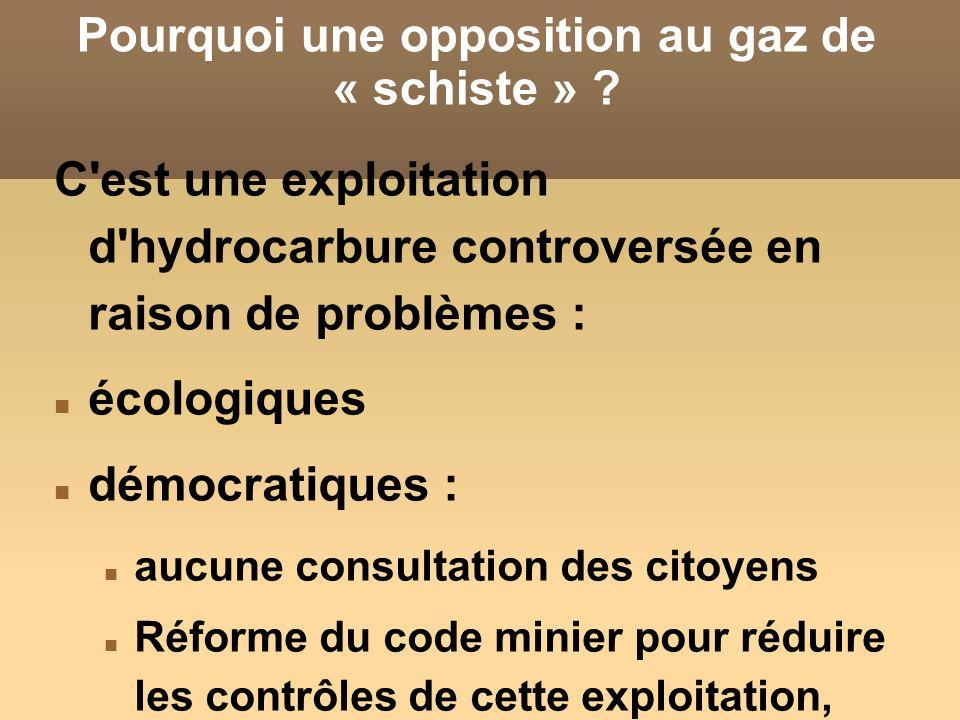Pourquoi une opposition au gaz de « schiste »