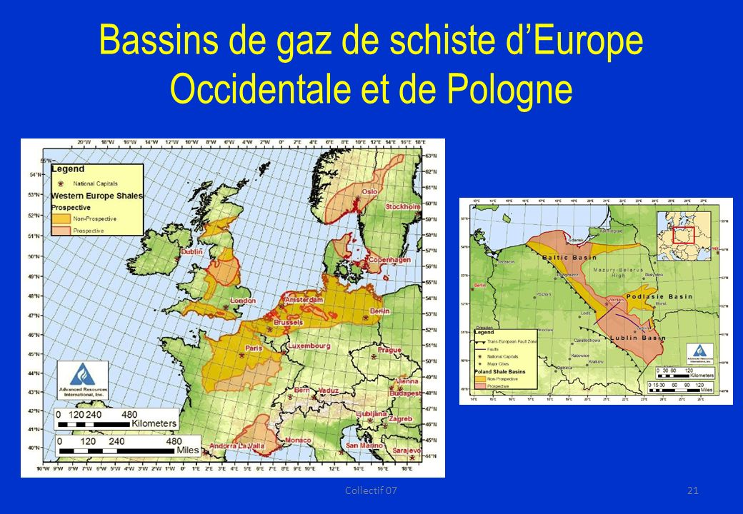 Bassins de gaz de schiste d'Europe Occidentale et de Pologne