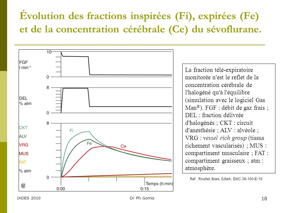 Évolution des fractions inspirées (Fi), expirées (Fe) et de la concentration cérébrale (Ce) du sévoflurane.