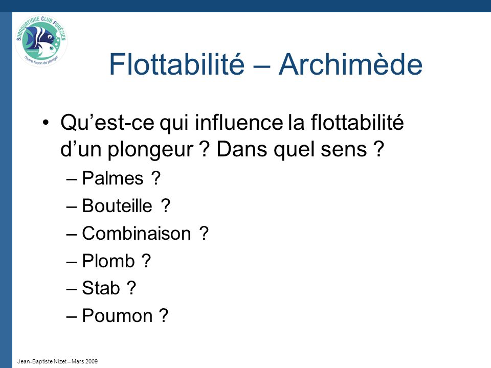 Flottabilité – Archimède