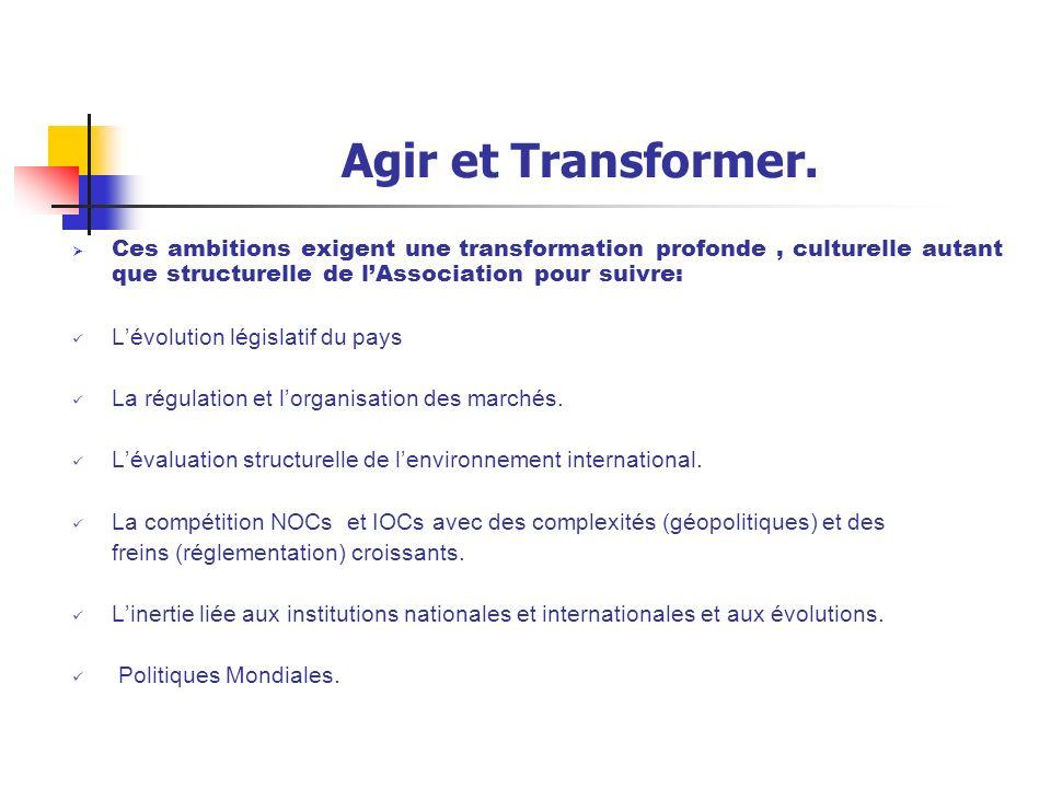 Agir et Transformer. Ces ambitions exigent une transformation profonde , culturelle autant que structurelle de l'Association pour suivre: