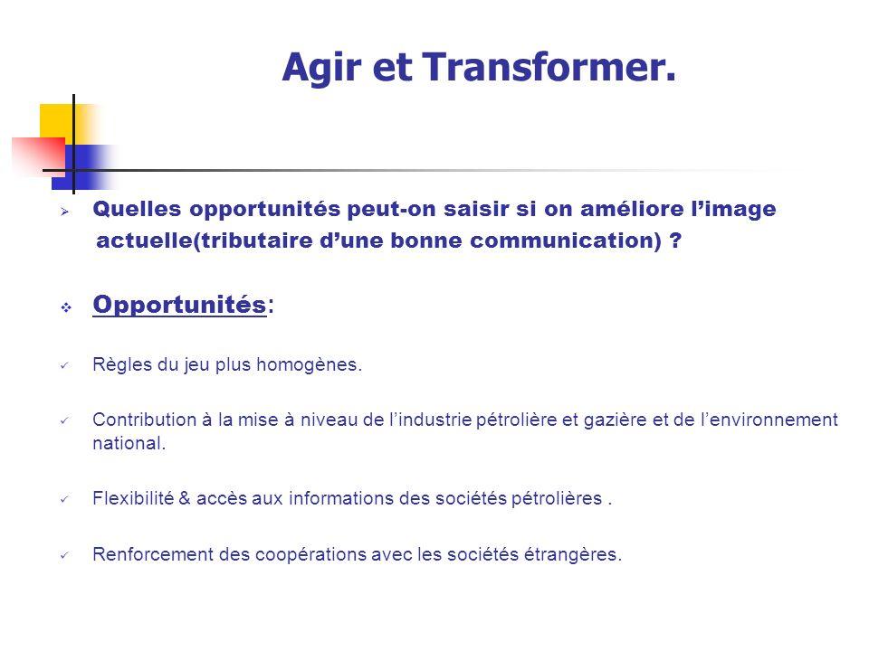 Agir et Transformer. Opportunités: