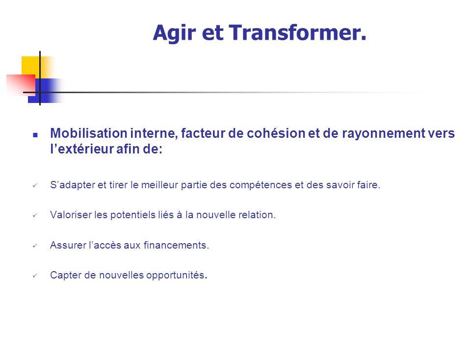 Agir et Transformer. Mobilisation interne, facteur de cohésion et de rayonnement vers l'extérieur afin de: