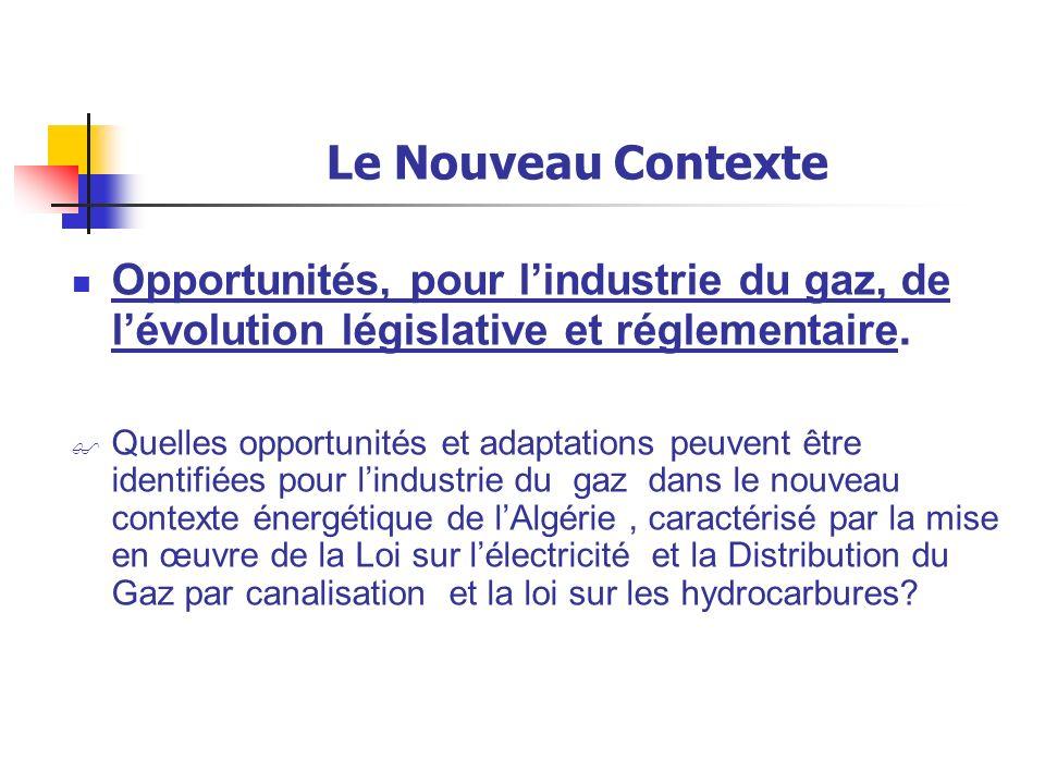 Le Nouveau Contexte Opportunités, pour l'industrie du gaz, de l'évolution législative et réglementaire.