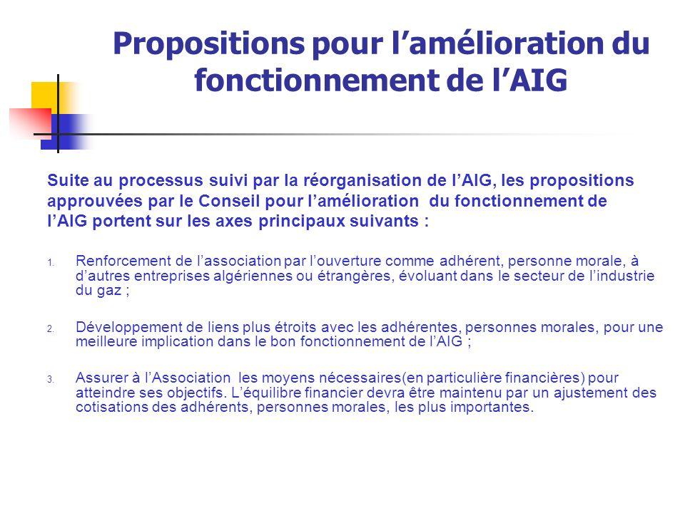 Propositions pour l'amélioration du fonctionnement de l'AIG