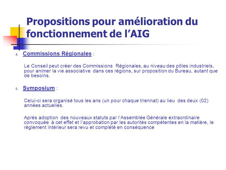 Propositions pour amélioration du fonctionnement de l'AIG