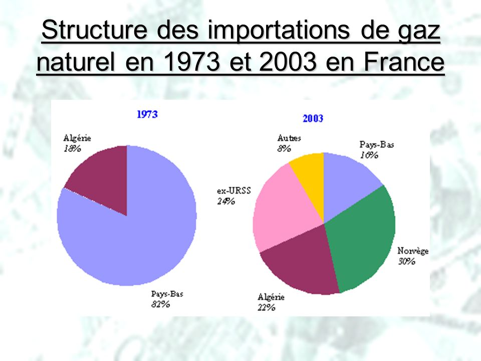 Structure des importations de gaz naturel en 1973 et 2003 en France
