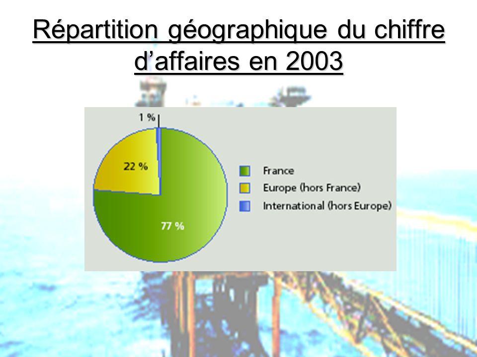 Répartition géographique du chiffre d'affaires en 2003