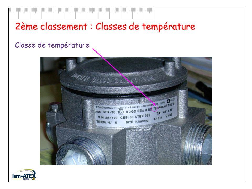 2ème classement : Classes de température