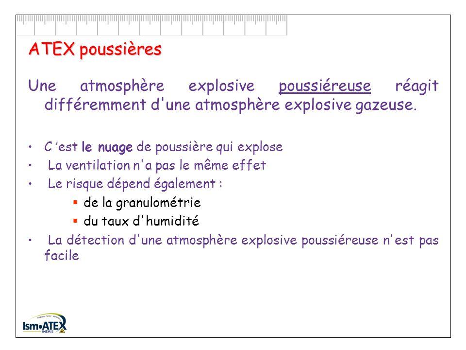 ATEX poussières Une atmosphère explosive poussiéreuse réagit différemment d une atmosphère explosive gazeuse.
