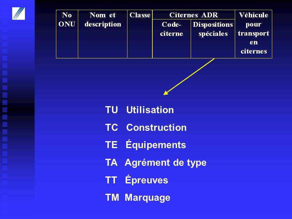 TU Utilisation TC Construction TE Équipements TA Agrément de type