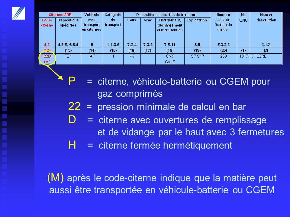P = citerne, véhicule-batterie ou CGEM pour