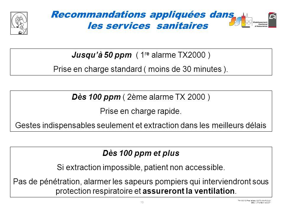 Recommandations appliquées dans les services sanitaires