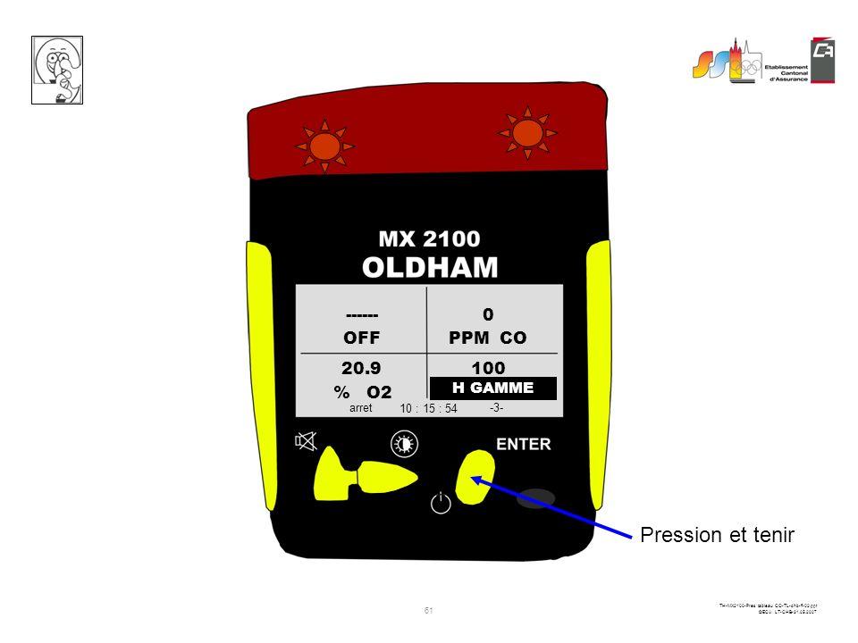 Pression et tenir ------ OFF PPM CO 20.9 100 % O2 LIE CH4 H GAMME