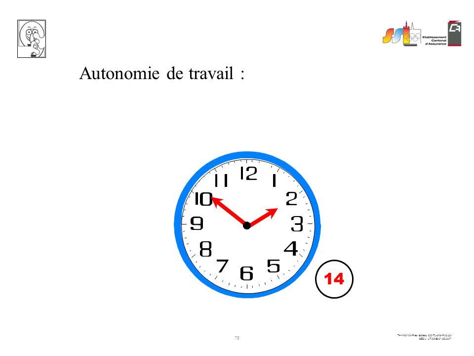 Autonomie de travail : 14 heures en standard 14