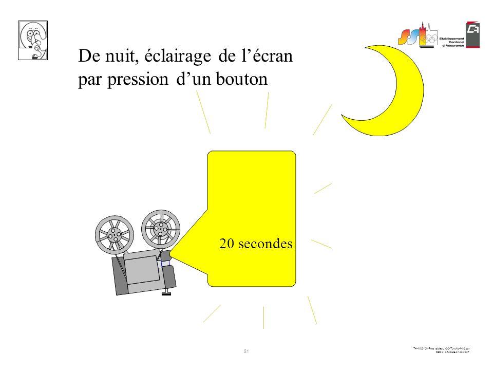 De nuit, éclairage de l'écran par pression d'un bouton