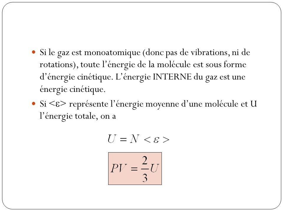 Si le gaz est monoatomique (donc pas de vibrations, ni de rotations), toute l'énergie de la molécule est sous forme d'énergie cinétique. L'énergie INTERNE du gaz est une énergie cinétique.