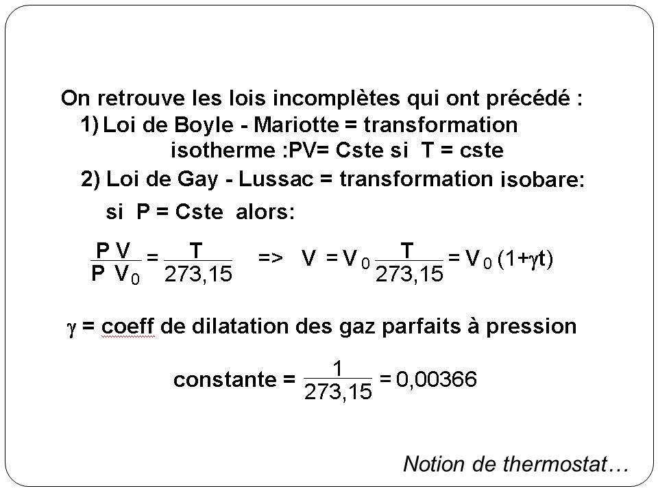 Notion de thermostat…