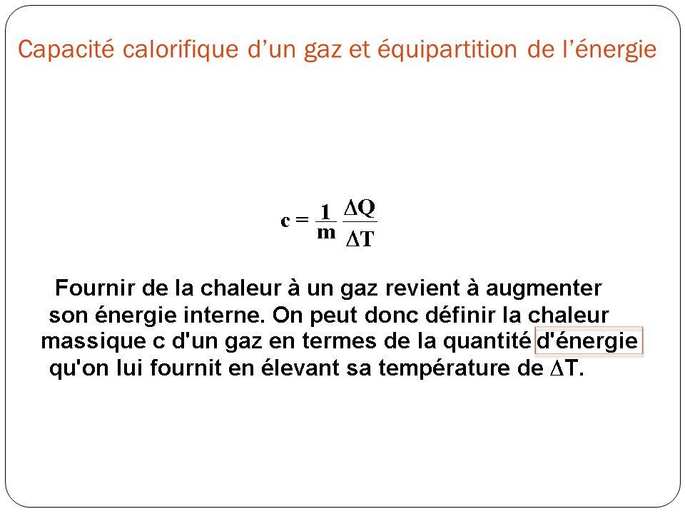 Capacité calorifique d'un gaz et équipartition de l'énergie