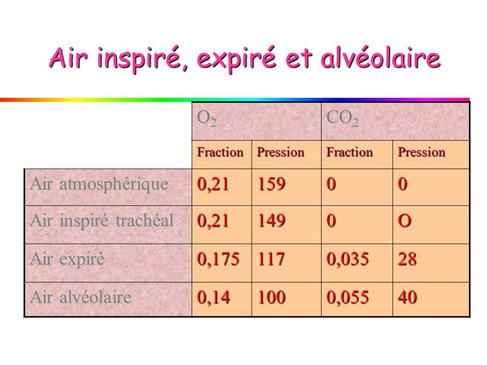 Air inspiré, expiré et alvéolaire