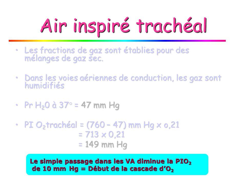 Air inspiré trachéal Les fractions de gaz sont établies pour des mélanges de gaz sec.