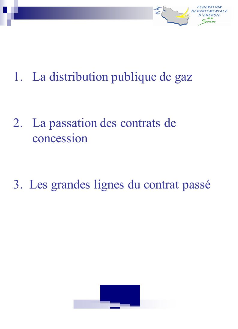 La distribution publique de gaz