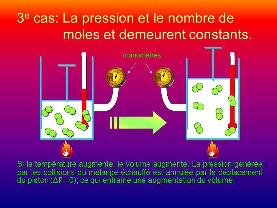 3e cas: La pression et le nombre de moles et demeurent constants.