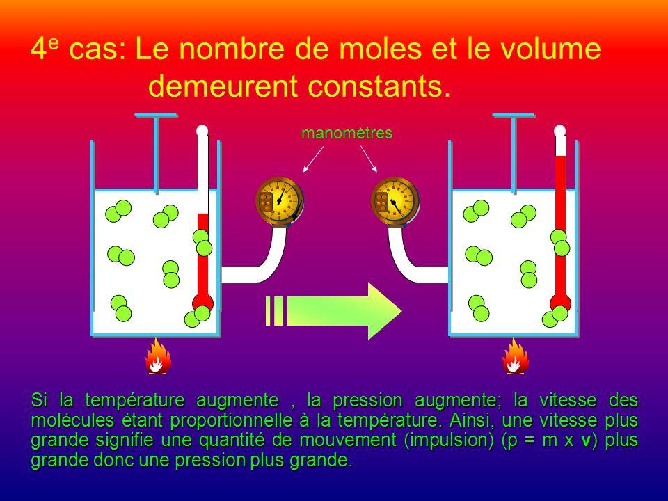 4e cas: Le nombre de moles et le volume demeurent constants.