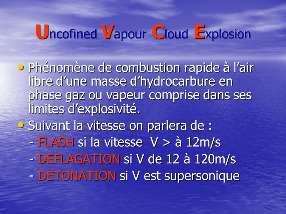 Uncofined Vapour Cloud Explosion