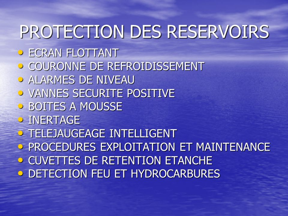 PROTECTION DES RESERVOIRS