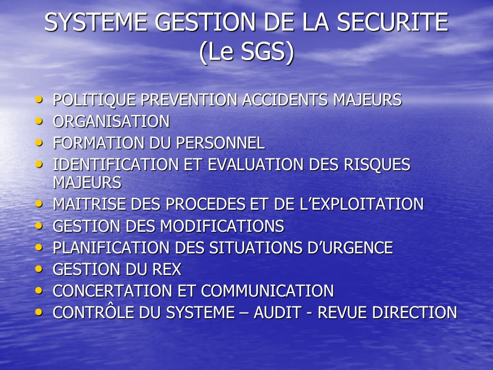 SYSTEME GESTION DE LA SECURITE (Le SGS)