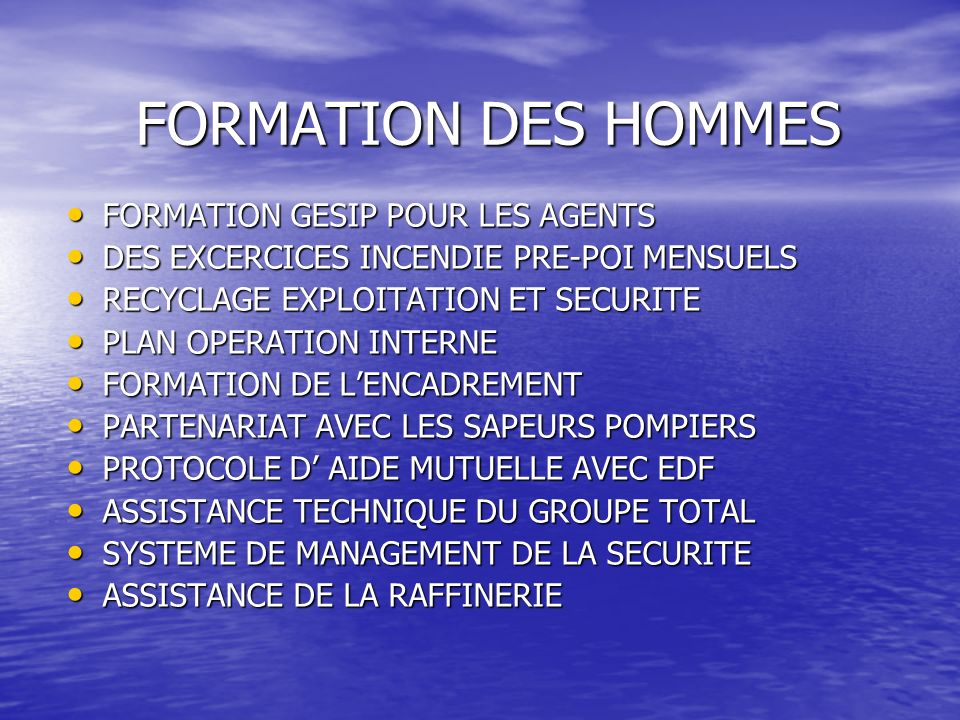 FORMATION DES HOMMES FORMATION GESIP POUR LES AGENTS