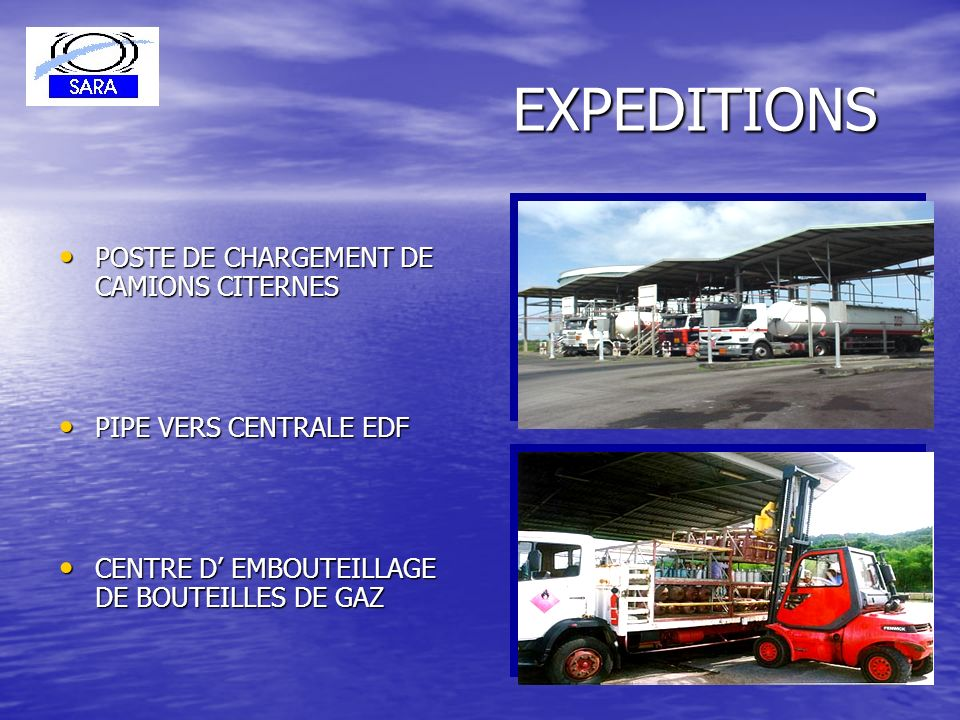 EXPEDITIONS POSTE DE CHARGEMENT DE CAMIONS CITERNES