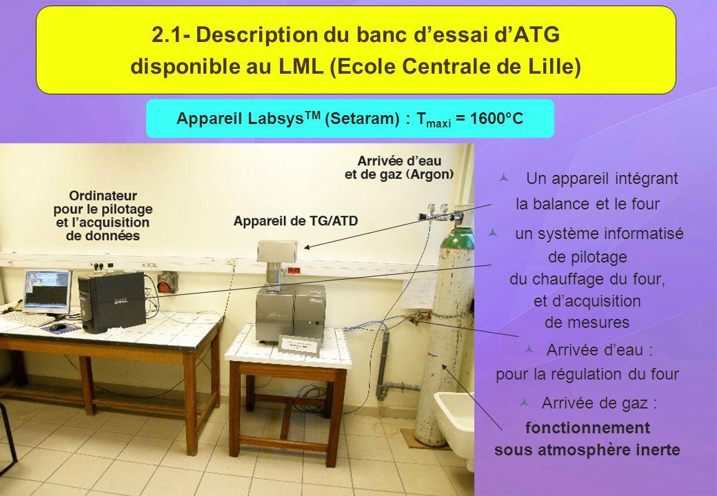 Appareil LabsysTM (Setaram) : Tmaxi = 1600°C sous atmosphère inerte