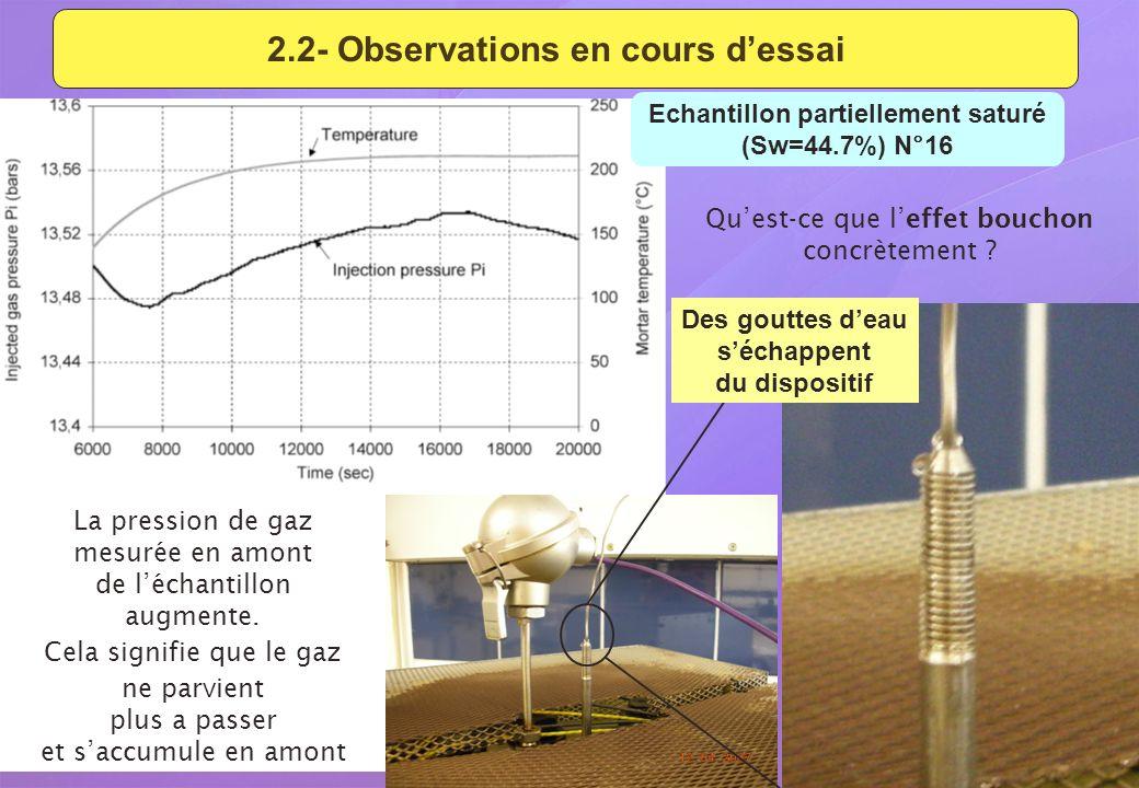 2.2- Observations en cours d'essai