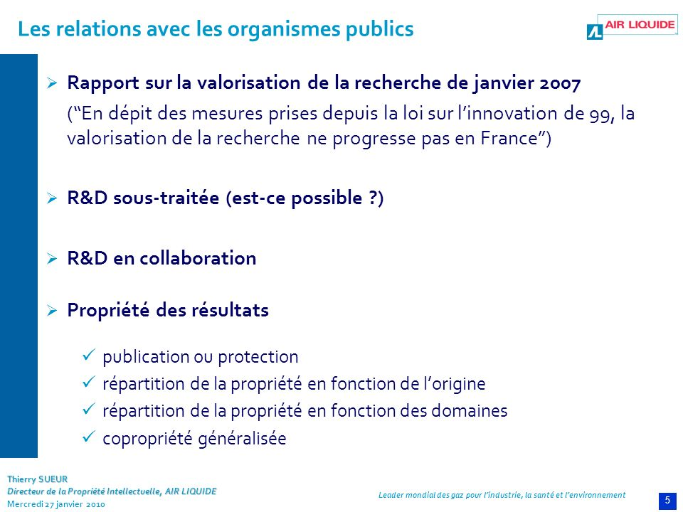 Les relations avec les organismes publics