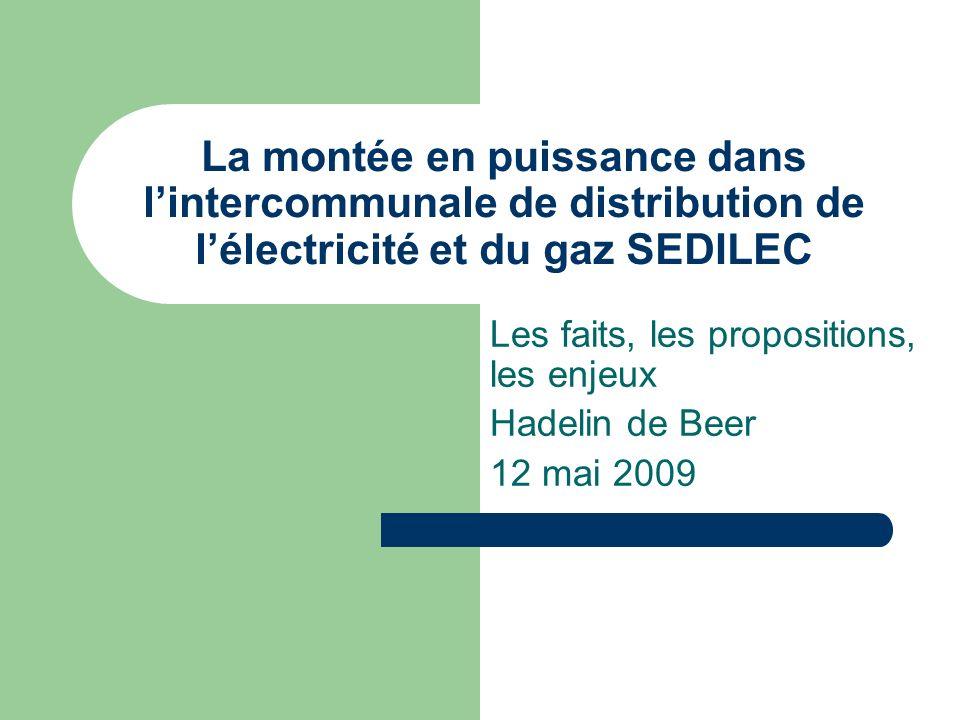 Les faits, les propositions, les enjeux Hadelin de Beer 12 mai 2009