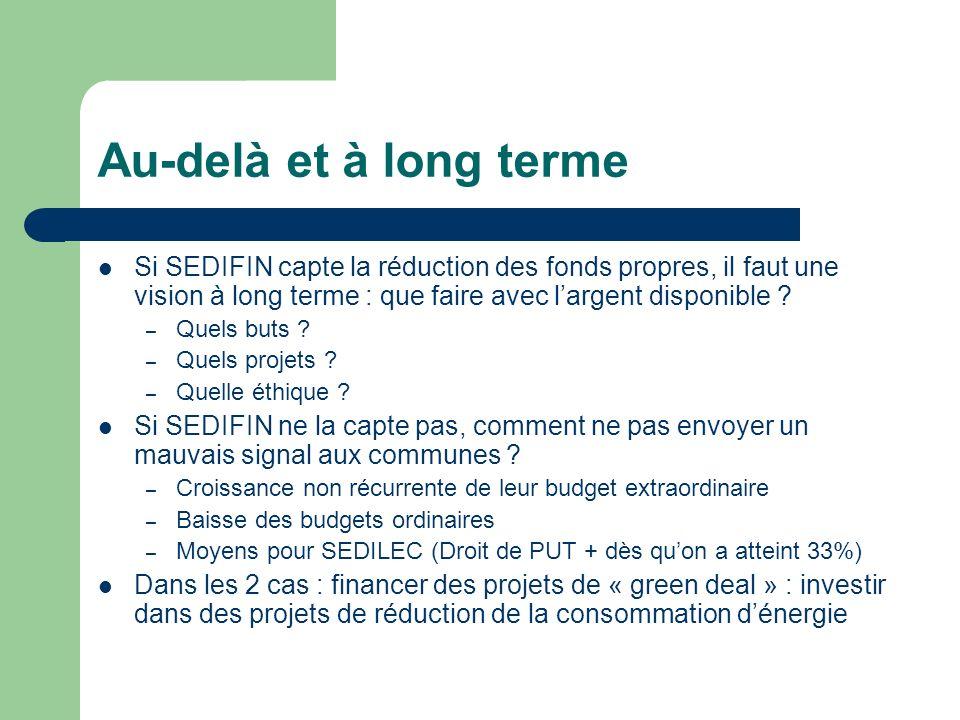 Au-delà et à long terme Si SEDIFIN capte la réduction des fonds propres, il faut une vision à long terme : que faire avec l'argent disponible