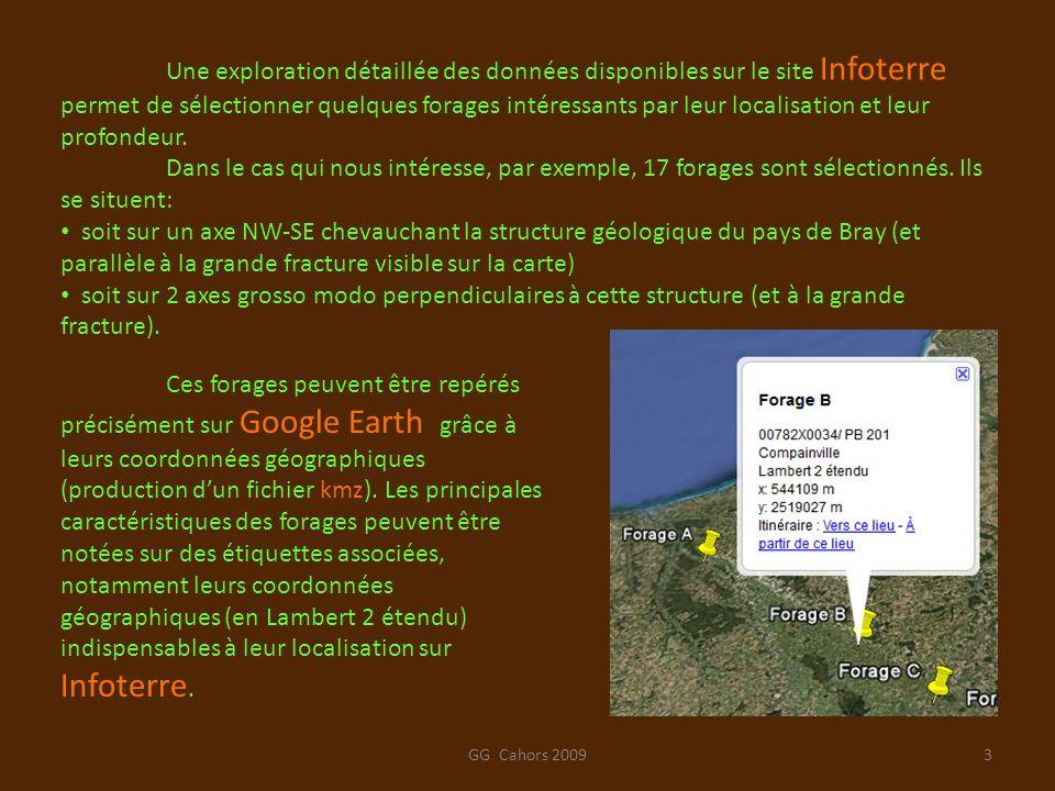Une exploration détaillée des données disponibles sur le site Infoterre permet de sélectionner quelques forages intéressants par leur localisation et leur profondeur.