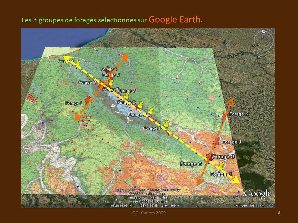 Les 3 groupes de forages sélectionnés sur Google Earth.