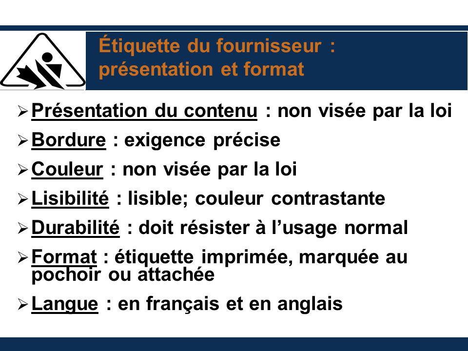 Étiquette du fournisseur : présentation et format