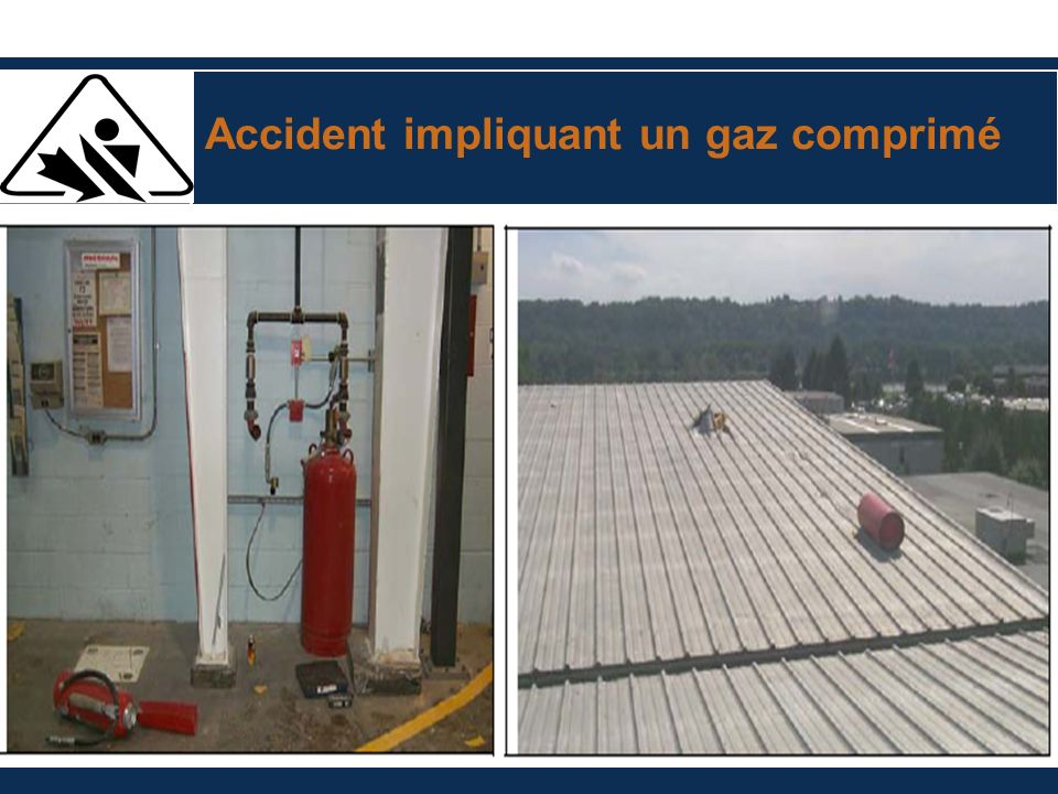 Accident impliquant un gaz comprimé