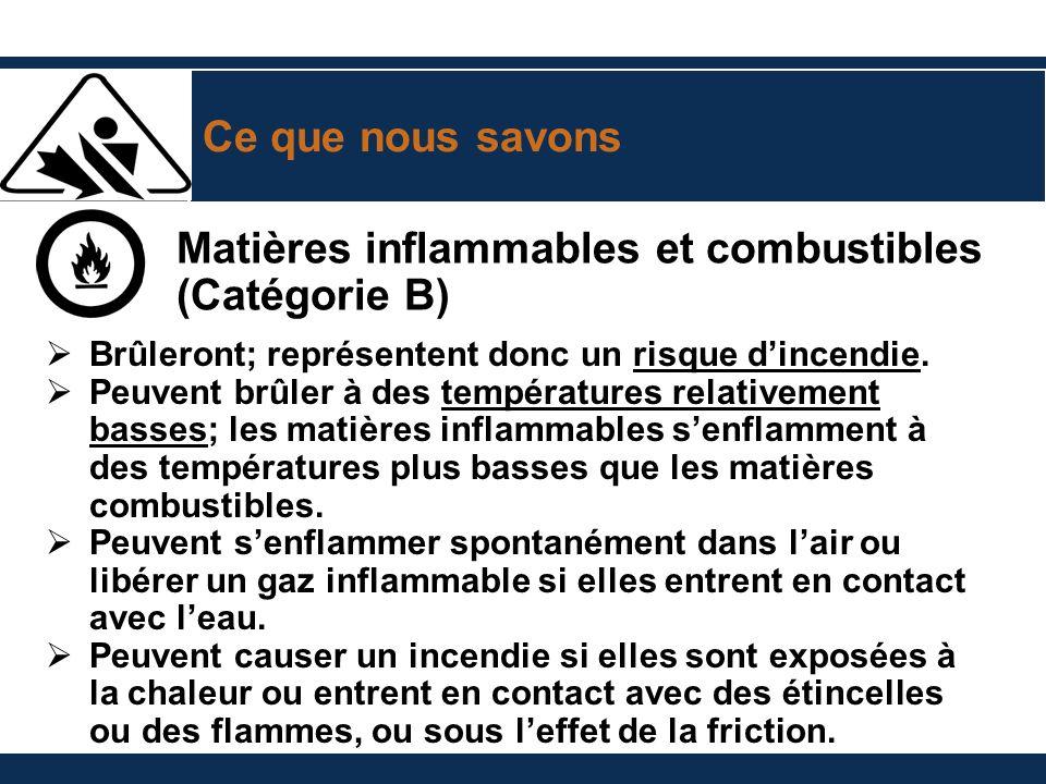 Matières inflammables et combustibles (Catégorie B)