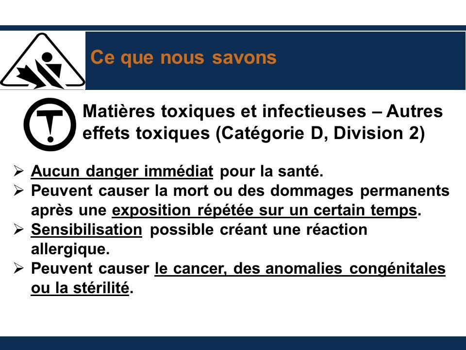 Ce que nous savons Matières toxiques et infectieuses – Autres effets toxiques (Catégorie D, Division 2)
