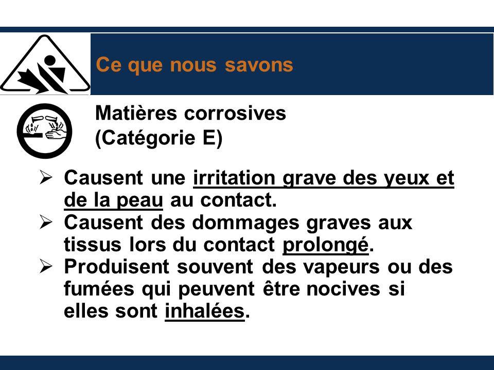 Ce que nous savons Matières corrosives. (Catégorie E) Causent une irritation grave des yeux et de la peau au contact.