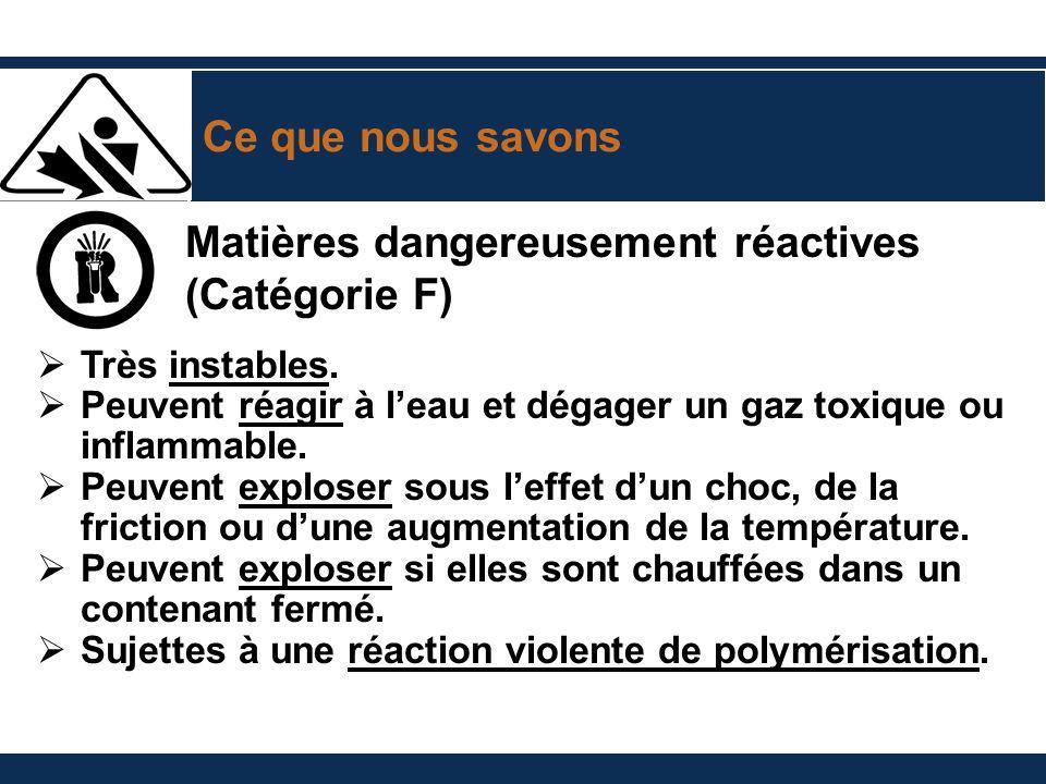 Matières dangereusement réactives (Catégorie F)