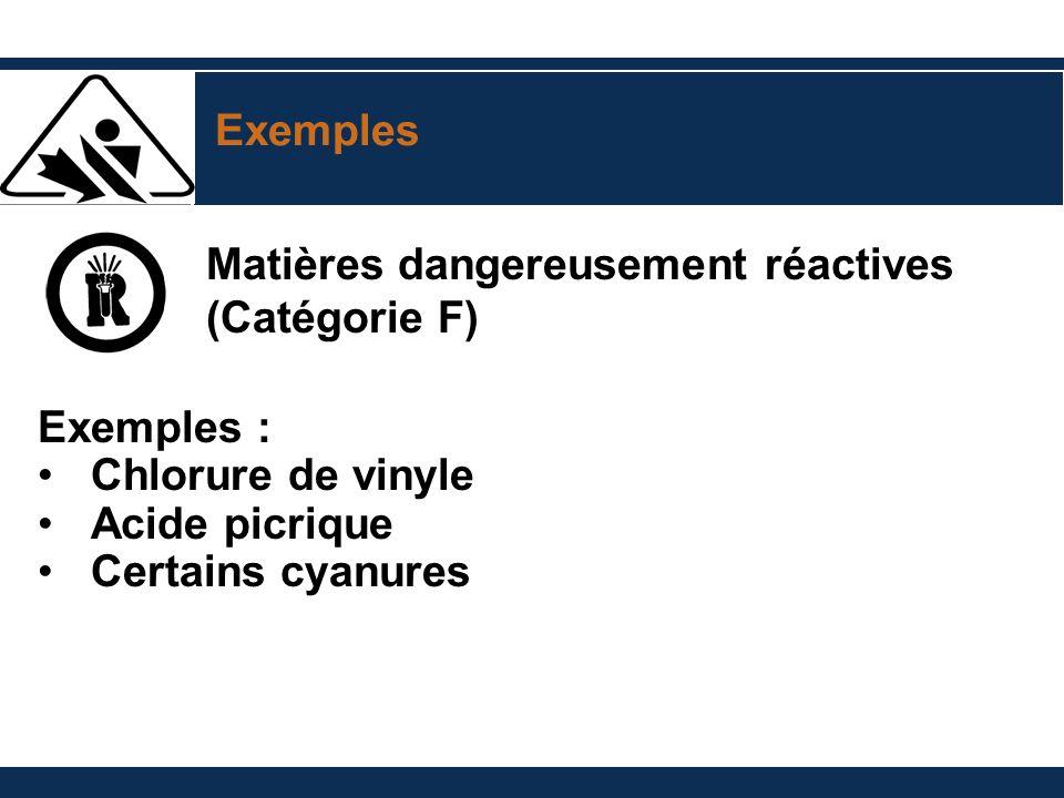 Exemples Matières dangereusement réactives. (Catégorie F) Exemples : Chlorure de vinyle. Acide picrique.