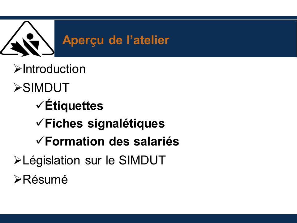 Aperçu de l'atelier Introduction. SIMDUT. Étiquettes. Fiches signalétiques. Formation des salariés.